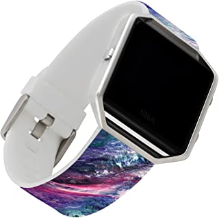 Band for Fitbit Blaze,Ecute Midium/Large(6.9-9.0) Leather Wristband Strap Watch Bands for Fitbit Blaze Smart Watch - Galaxy Starry Sky Pattern