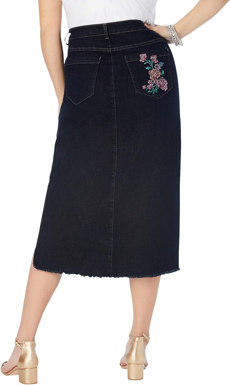 Roamans Women's Plus Size Embroidered Midi-Length Denim Skirt