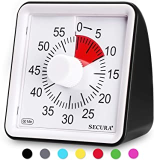 Secura 60-Minute Visual Timer, Classroom Countdown Clock, Silent Timer for Kids and Adults (Black)