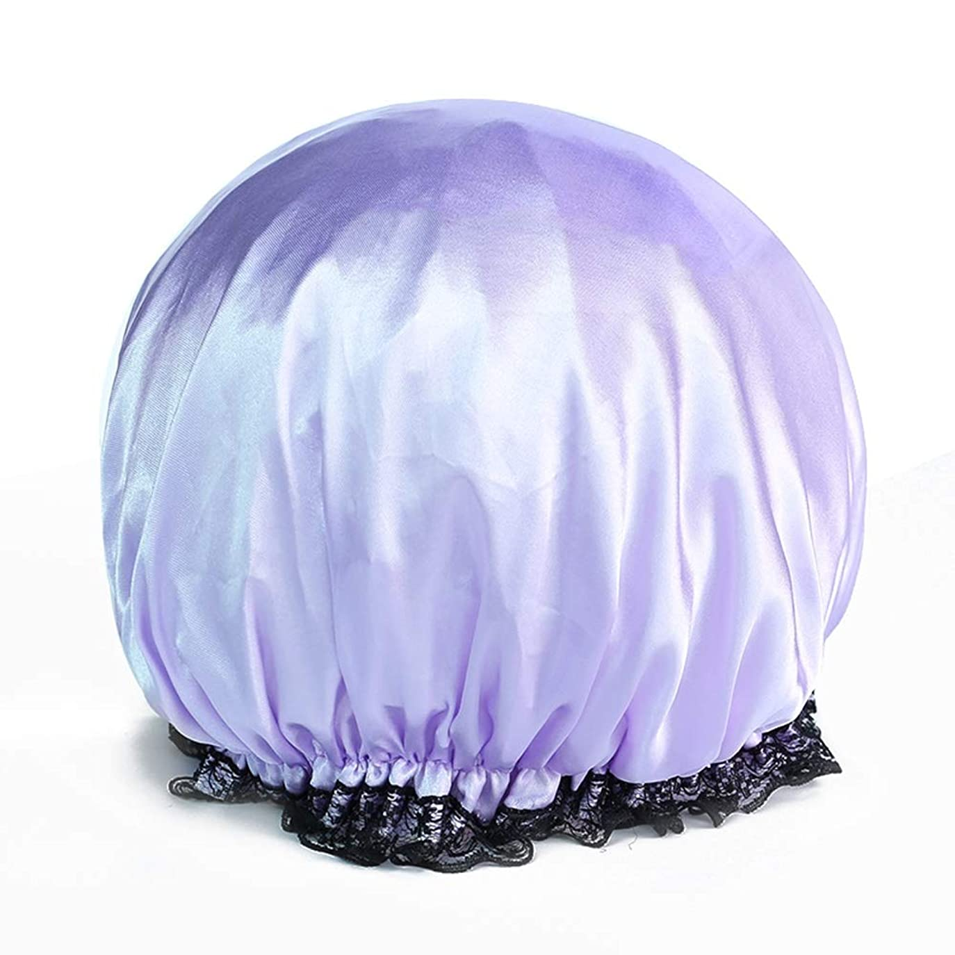 好奇心基礎時計回りYushulinfeng シャワーキャップダブル防水シャワーキャップお風呂シャワーキャップシャンプーキャップかわいい帽子キッチンレディアンチヒュームキャップヘアカラーキャップ (Color : Purple)