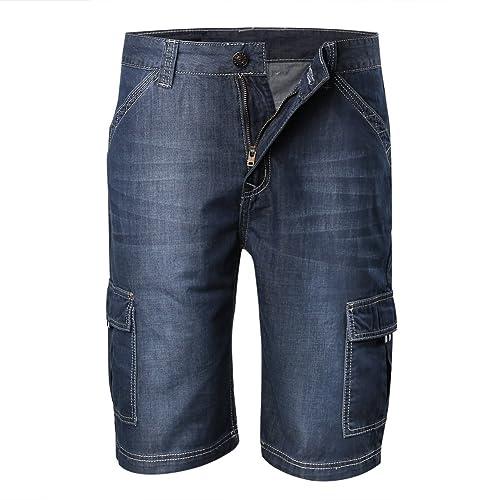 57d0bf88e4 Zicac Men's Denim Shorts Thin Soft Casual Jean Shorts Cargo Half Pants  Outdoor Lightweight Shorts Pocket