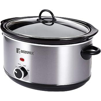 Bergner Elite Stainless Steel Slow Cooker 280W, 4.5 Liter, Grey