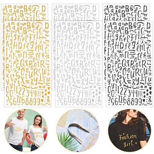 6 Sheets Heat Transfer Glitter Stickers Include 924 Adhesive Iron-on Letters Number Appliques Three-Dimensional Iron on Alphabet Symbol for T-Shirt Clothes Bags DIY Craft Decor (Black, Gold, Silver)