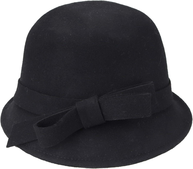 Taylormia Womens 1920s Vintage 100/% Wool Felt Cloche Bowler Felt Buckle Winter Hat