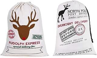 DegGod Christmas Sack Gift Bag, 2pcs Extra Large Santa Reindeer Sacks Reusable White Canvas Christmas Sacks with Drawstring for Kids and Family Xmas Presents Storage, 19.6