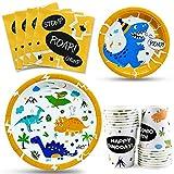 WERNNSAI Servizio da Tavola per Feste di Dinosauri - Bambini Compleanno Baby Shower Forniture per Feste Pranzo Cena Piatti da Dessert Tazze e Tovaglioli per 16 Ospiti