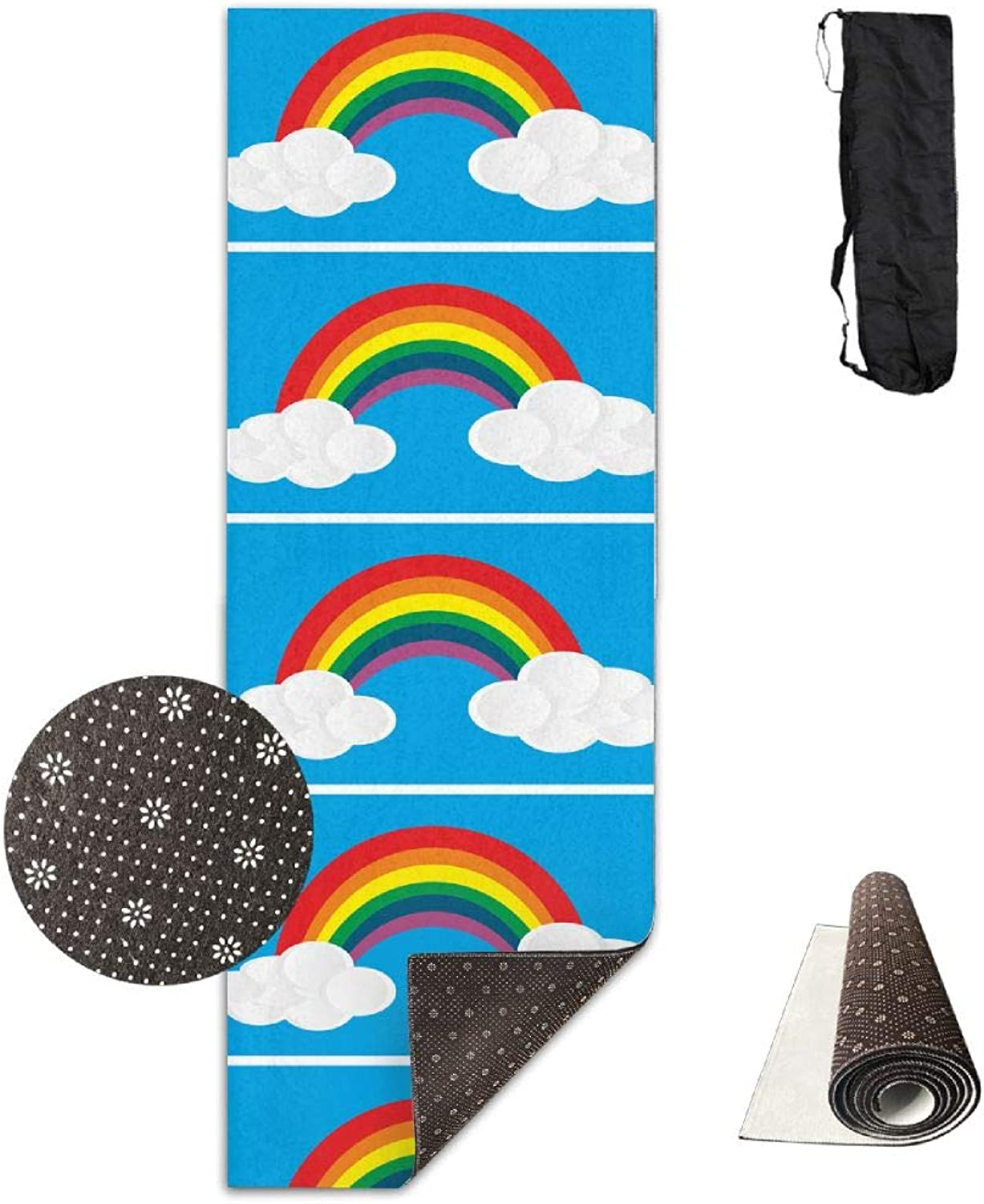 Yoga Mat Non Slip 24  X 71  Exercise Mats Rainbow Clouds Premium Fitness Pilates Carrying Strap