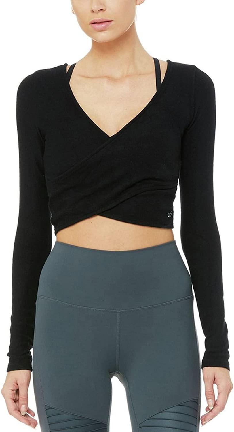 ALO Women's Amelia Luxe Long Sleeve Crop Black Medium