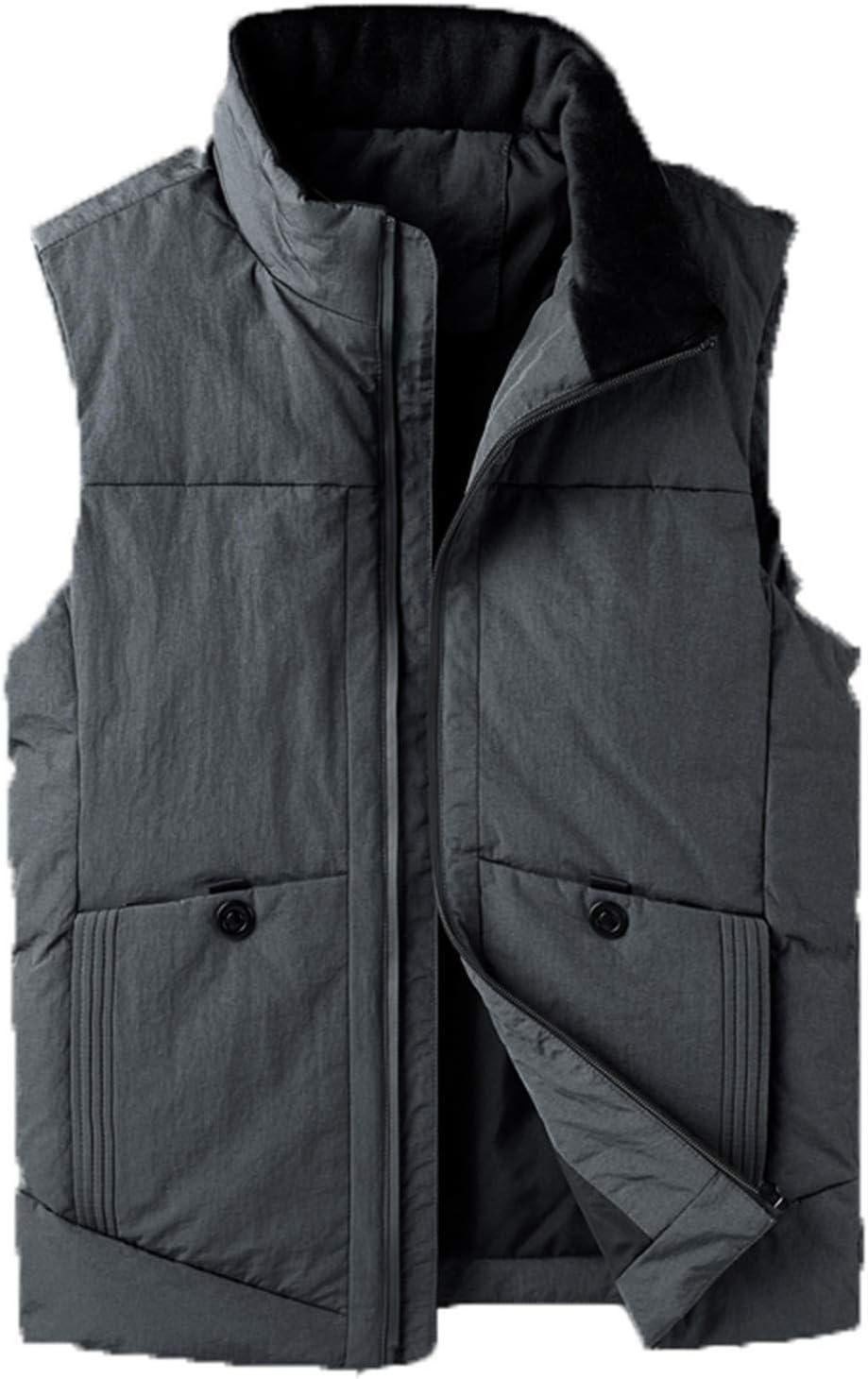 Snhpk Men's Down Vest Outerwear Gilets Coat Softshell Jacket, Hooded Winter Thicken Warm Windproof Overcoat Waistcoat,Gray2,XL