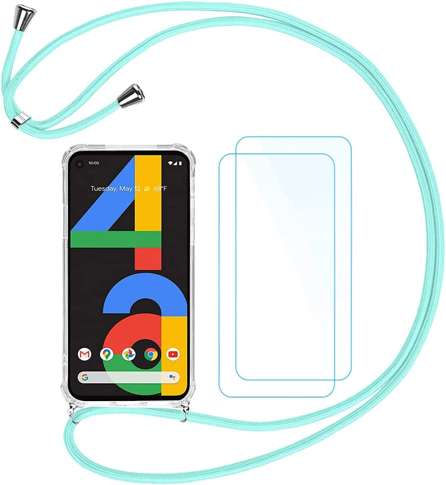 QUIETIP Clear Case Compatible Google Pixel 4a,Crossbody Strap Adjustable Neck Lanyard Transparent Shockproof Protective Case,2 x Tempered Glass Screen Protector,Mint Green