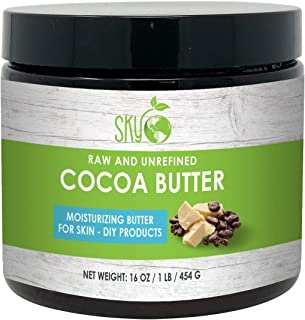 Cocoa Butter Unrefined, 100% Pure Raw Cocoa Butter 16oz – Skin Nourishing, Moisturizing & Healing, for Dry Skin, Stretch Marks - For Skin Care, Hair Care & DIY Recipes