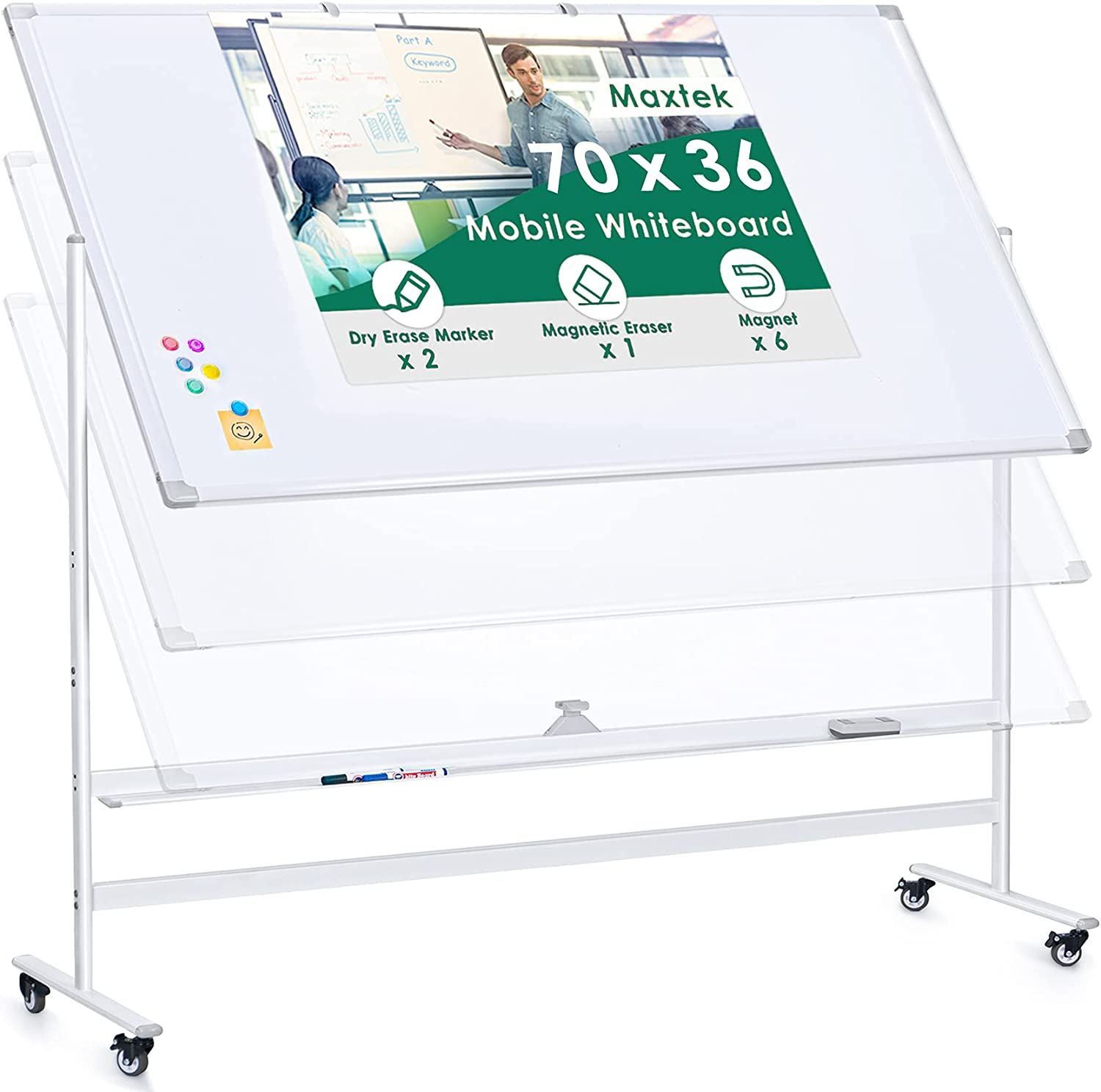 Large Rolling Whiteboard, Height Adjustable 70 x 36 inches Double Sided White Board Mobile Magnetic Dry Erase Board, Standing Whiteboard on Wheels for Home Office & Classroom, Accessories Included
