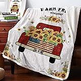 Warm Soft Fleece Throw Blanket, Red Truck Load Blooming Sunflower Farm Fresh - Cozy Plush Lightweight Blanket | Winter Couch Bed Sofa Decorative Microfiber Fleece Throws, 39' x 49'