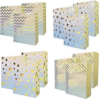 UNIQOOO 12Pcs Premium Assorted Gold Foil Metallic Gift Bags Bulk, Medium 9.5x7 x3.25 Inch,100% Recyclable Paper Ribbon Handle, for Christmas Wedding, Birthday Party,Retail Shopping Wrap Bag Idea