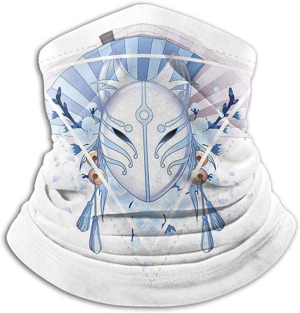 Face Scarf Mask For Men Kabuki Mask Decoration For Dust, Outdoors, Festivals, Sports Fox Mask Kitsune Japan Culture Triangle Sakura Flowers Light Blue White Beige