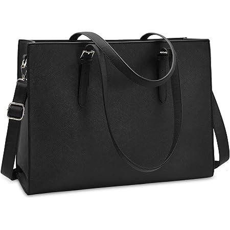 NUBILY Handtasche Shopper Damen Große Schwarz Handtasche Leder Umhängetasche Arbeitstasche Gross Laptop Business Schule Taschen 15.6 Zoll
