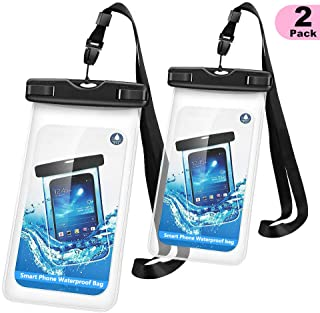 WJZXTEK Universal Waterproof Case, Waterproof Phone Pouch Clear Dry Bag with Sensitive PVC Clear Screen for iPhone Xs XR X 8 7 6S Plus Galaxy S9 S8 Note 8 LG Google Pixel, Up to 6 Inch(2 Pack Black)