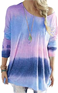 Hokny TD Women Long Sleeve Casual T Shirts Gradient Loose Tunic Tops Blouse