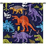 ANHOPE Dinosaur Curtains, Rod Pocket Curtains with Cartoon Wildlife Dino Print Pattern Kids Jurassic World Animal Theme Window Drapes for Boys Girls Bedroom Nursery Living Room, 2 Panels, 52 x 84 Inch