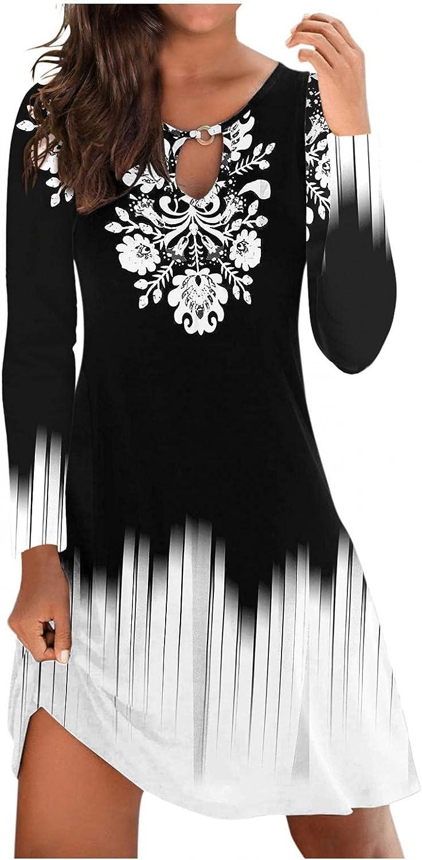 soyienma Summer Dresses for Women, 2021 Womens Casual Beach Mini Dress Floral Print Hollow Sleeveless A-Line Flowy Sundresses