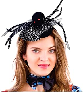 Cathercing Halloween Black Spider Web Lace Headband Hat for Women Girls Kids Hair Hoop Costume Headpiece Hair Accessories for Cosplay Prom Party