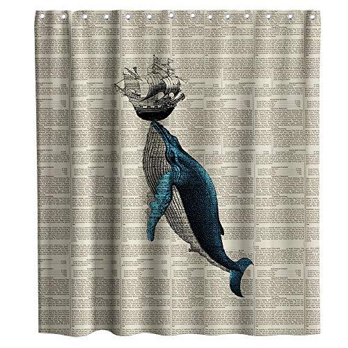 Whale - Cortina de ducha con ganchos, impermeable, lavable, 182,88 x 182,88 cm, color azul y negro