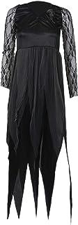 REFURBISHHOUSE ハロウィーンの女性のコスチューム墓地の花嫁コープスドレスレディースブラックレースのコスプレ格好良いドレスパーティー XL