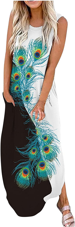 Summer Dresses for Women Sunflower Print Sundress Butterfly Graphic Cocktail Dress O Neck Sleeveless Maxi Long Skirt