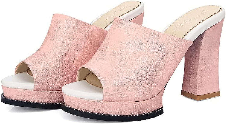Peep Toe Platform Heeled Sandals for Women High Chunky Heels Pumps Mules Slip On Backless Party Dress Slide Sandal