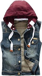 Men's Vintage Cool Motorcycle Denim Sleeveless Lapel Hooded Jacket Vest Waistcoat Gilet Hoodie Removable