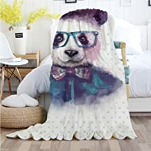 Ylljy00 Funny,Throw Blankets,Flannel Plush Velvety Super Soft Cozy Warm with/Vintage Hipster Panda with Bow Tie Dickie Hat Horn Rimmed Glasses Watercolor Style/Printed Pattern(70