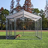 walnest Dog Cage Large Dogs Crate Pet Kennel Puppy Playpen with UV Protection Waterproof Cover and roof Indoor Outdoor 9.8 x 9.8 x 7.7 ft Silver