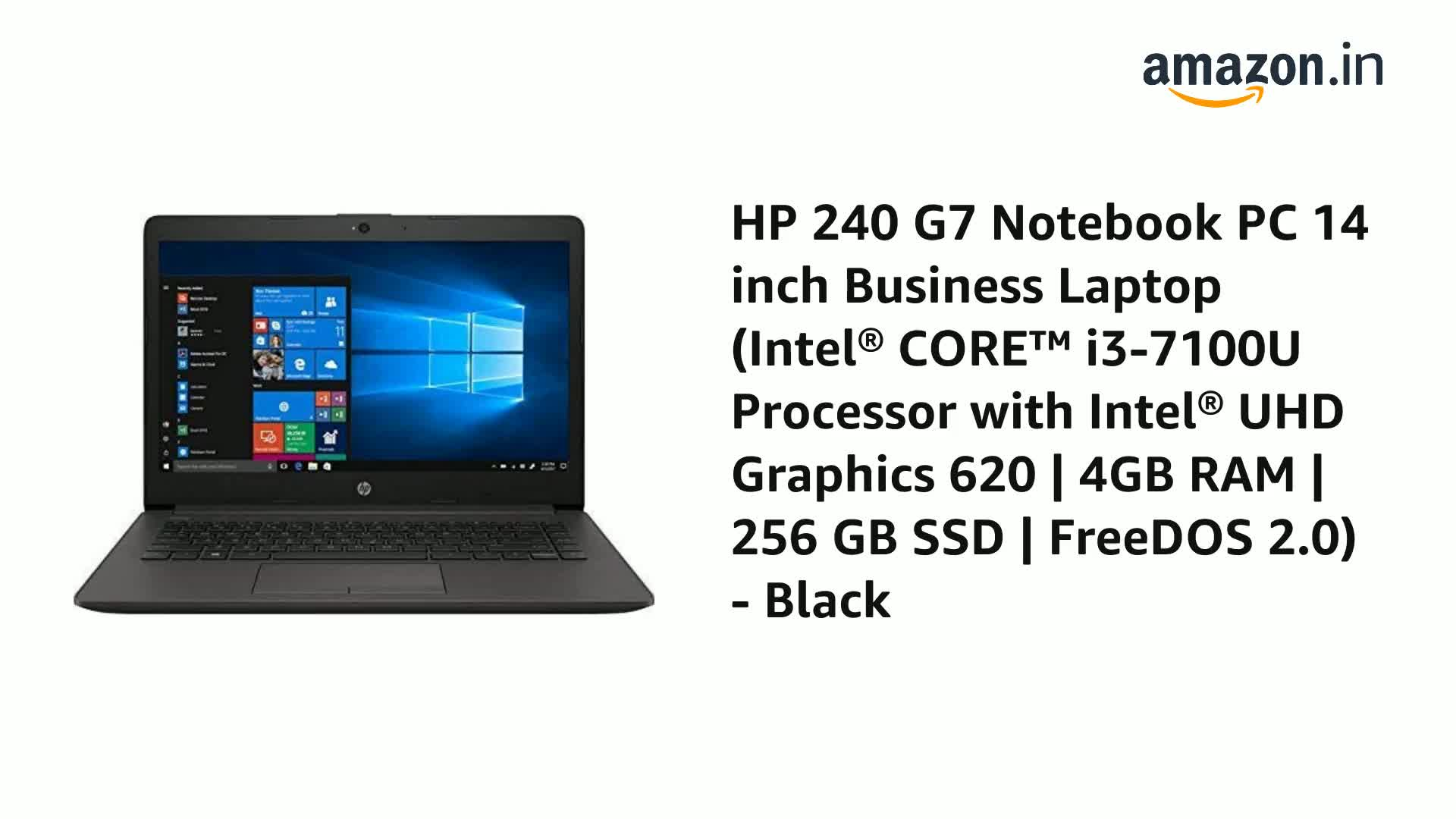 Buy Hp 240 G7 Notebook Pc 14 Inch Business Laptop Intel Core I3 7100u Processor With Intel Uhd Graphics 620 4gb Ram 256 Gb Ssd Freedos 2 0 Black Online At Low Prices In India Amazon In