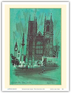 Westminster Abbey, London - TWA (Trans World Airlines) Menu Cover - Vintage Travel Poster by David Klein c.1968 - Master Art Print 9in x 12in
