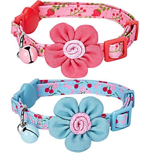 Blueberry Pet Lot de 2 Adorables Motifs Cerises et Fleurs Réglable Collier pour Chat avec Boucle...
