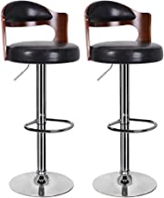 JINDAO-URG Bar Stools Walnut Bentwood Adjustable Height Leather Modern Barstools with Back Vinyl Seat Extremely Comfy Bar Stool 1/2 Piece Bar Stool for Kitchen/Breakfast Bar/Counter/Home Furniture (Bl
