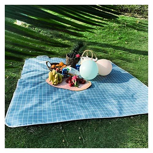 OH 2M * 1.5M Mat de Picnic Al Aire Libre Camping Picnic Mat Impermeable Picnic Mats Matters Colchoneta Camping Mats Play Mats Plaid Manta, Manta de Picnic profesional/Blue Grid /