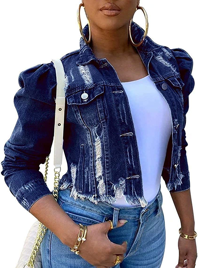Alilyol Crop Frayed Ripped Jeans Jackets for Women Puff Sleeve American Flag Print