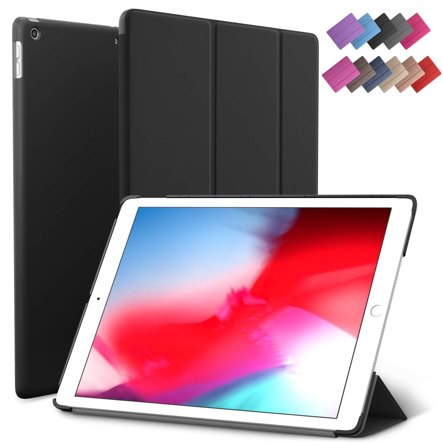 iPad Mini 5 case, ROARTZ Black Slim Fit Smart Rubber Coated Folio Case Hard Cover Light-Weight Wake/Sleep for Apple iPad Mini 5th Generation 2019 Model A2133 A2124 A2126 7.9-inch D
