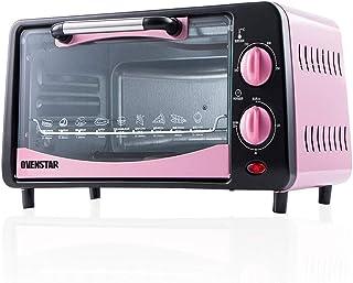 L.TSA Cocina Mini Horno de 12 litros Pastel de hogar Pan Horno de Pizza Posición de horneado Doble Ajuste de Temperatura 0-250 ℃ y Temporizador de 30 Minutos 4 Tubos de Calentamiento de Acero INOX
