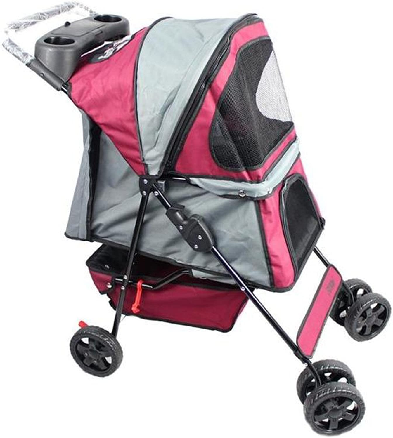 NAUY Pet Stroller Collapsible Dog and Cat Cart Small Outing Trailer Bidirectional Collapsible Lightweight and Durable Dog Supplies
