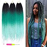 Belleshow 24 Inch 3 Pcs, 1B/Green/Light Green: Box Braids Crochet Hair Extensions 100G/Pcs