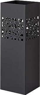 Baroni Home porte parapluie en métal au style moderne avec sculpture - support parapluie noir avec crochet et bac d'égoutt...