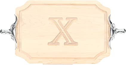 "BigWood Boards 310-SLH-X Cutting Board with Longhorn Cast Aluminum Handle with Scalloped Corners, 12-Inch by 18-Inch by 1-Inch, Monogrammed ""X"", Maple"