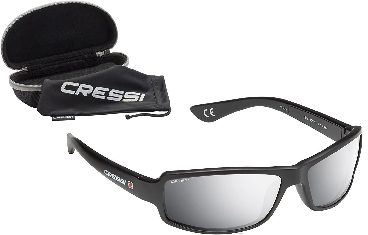 Cressi Ninja Sunglasses - Lunettes de Soleil Flex Polarisées Anti UV Noir/Lentilles Mirroir Argent