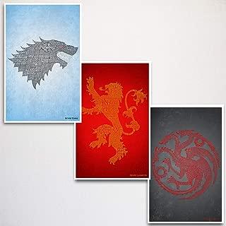Game of Thrones Word Art Print Three Set 11x17
