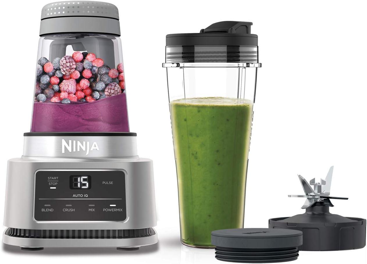 Batidora Ninja Foodi Power Nutri, 2 en 1; vaso de 700 ml y bol de 400 ml, motor smartTorque y tecnología Auto-iQ [CB100EU]
