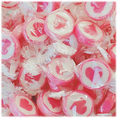 Herzbonbons zu Hochzeit Taufe Kommunion 500g - handgewickelte Rocks-Bonbons mit Herz - Tischdeko Nascherei Gastgeschenk (pink)