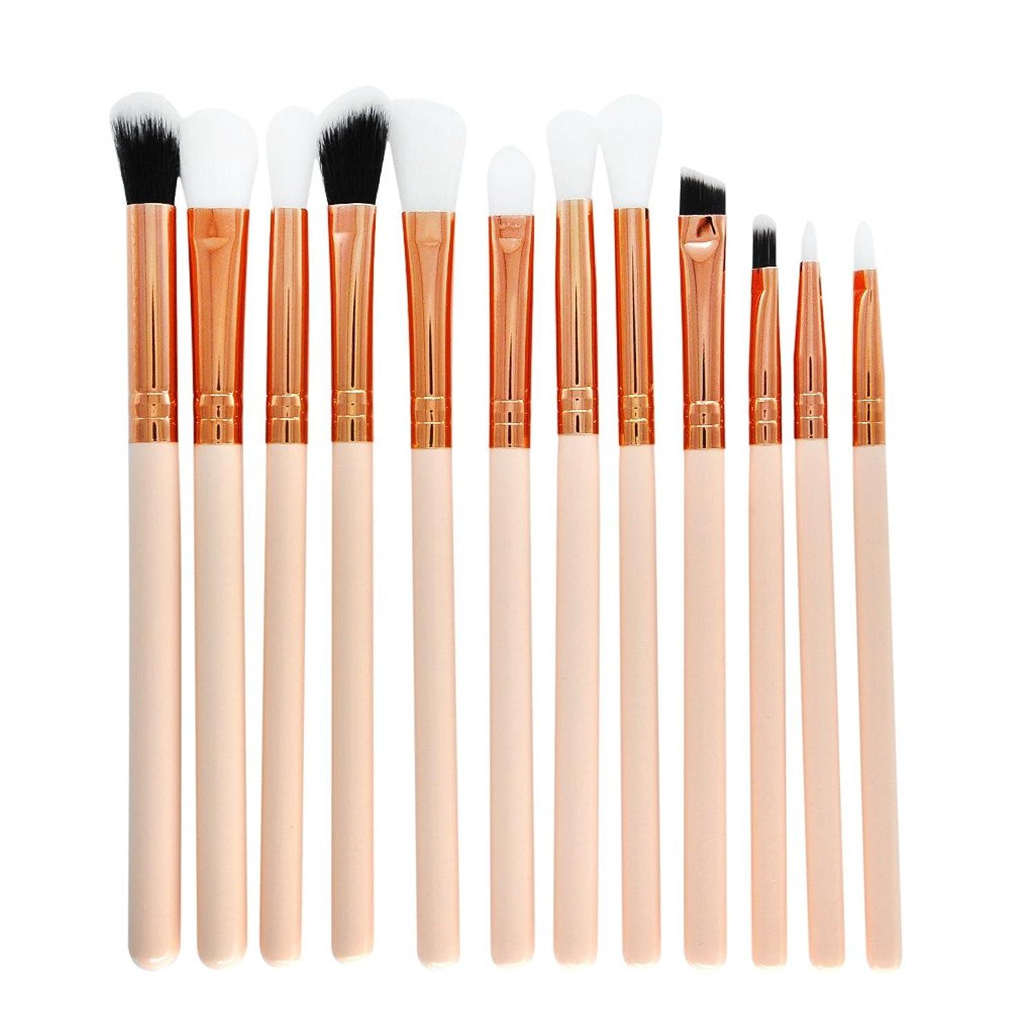 公平報復するいわゆる12 本セット化粧筆 | メイクアップブラシセット アイシャドウメイクブラシ| コスメチック化粧ブラシキットビューティーツール (ホワイト)