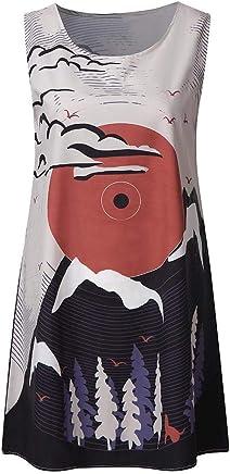 46de669d6 Yesmile Vestidos Cortos Mujer Verano de Playa Vestido Corto sin Mangas con  Estampado Floral en 3D